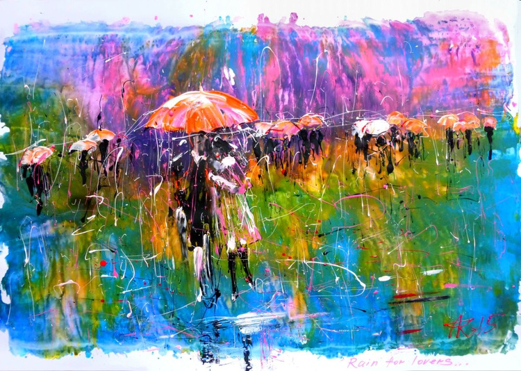 rain for Lovers. original acrylic painting on paper. 100x70 cm. unframed - Image 0