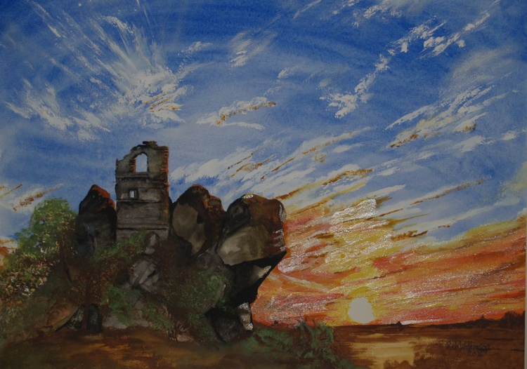 Sunset over The Roche Chapel Cornwall - Image 0
