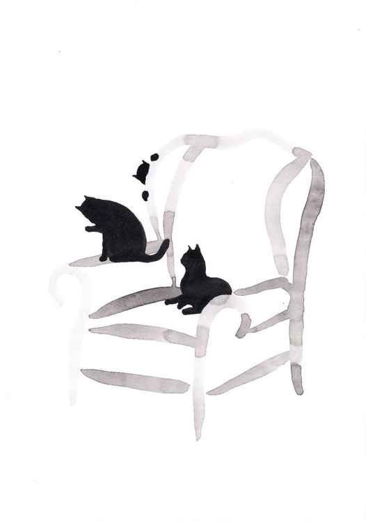 Three cats on a chair 2130A