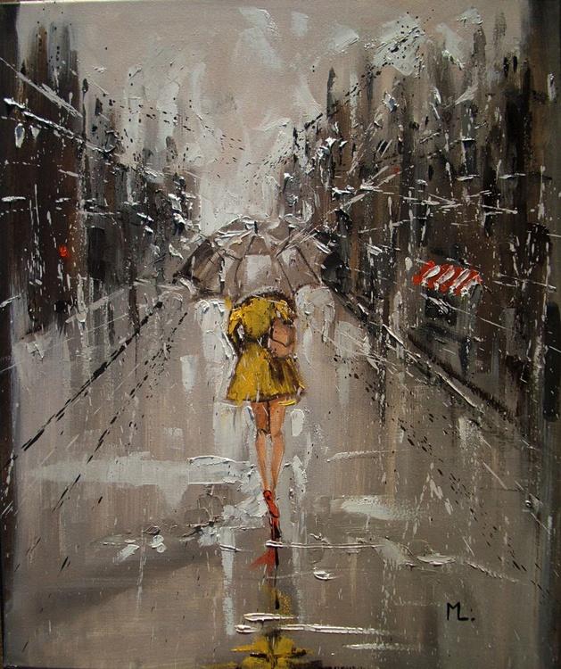 """ RAINY STREET  "" original painting CITY palette knife spring - Image 0"