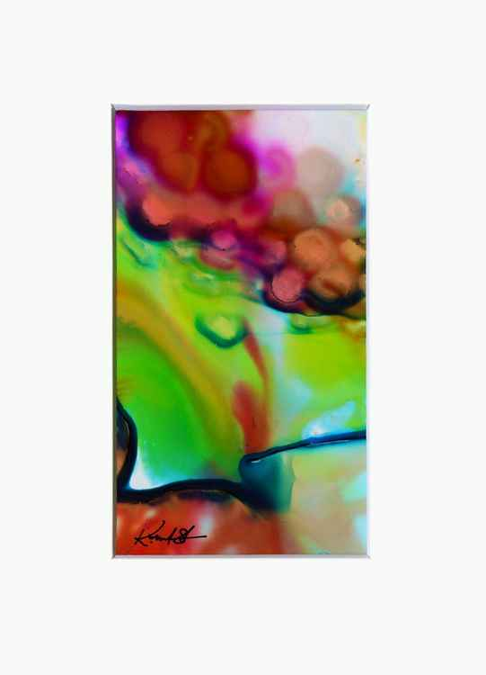 From the Dream Walk Series - No 2 ....Original Abstract Painting in 5x7 mat by Kathy Morton Stanion -