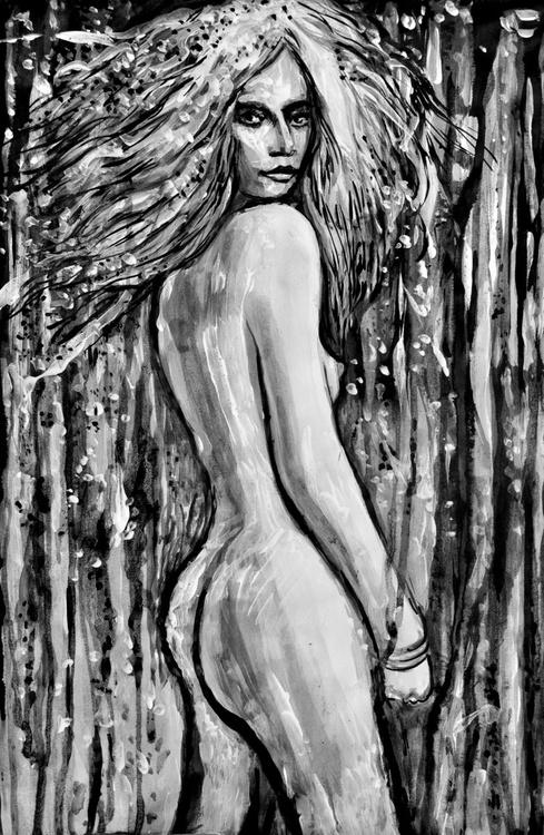 Nude Blonde Model in Half Turn - Image 0