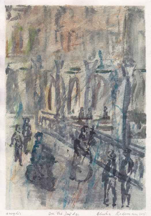 On the Bridge, September 2015, acrylic on paper -