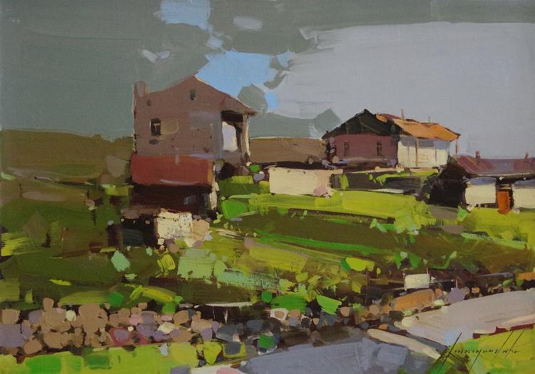 Village Landscape Original oil painting  Handmade artwork One of a kind - Image 0
