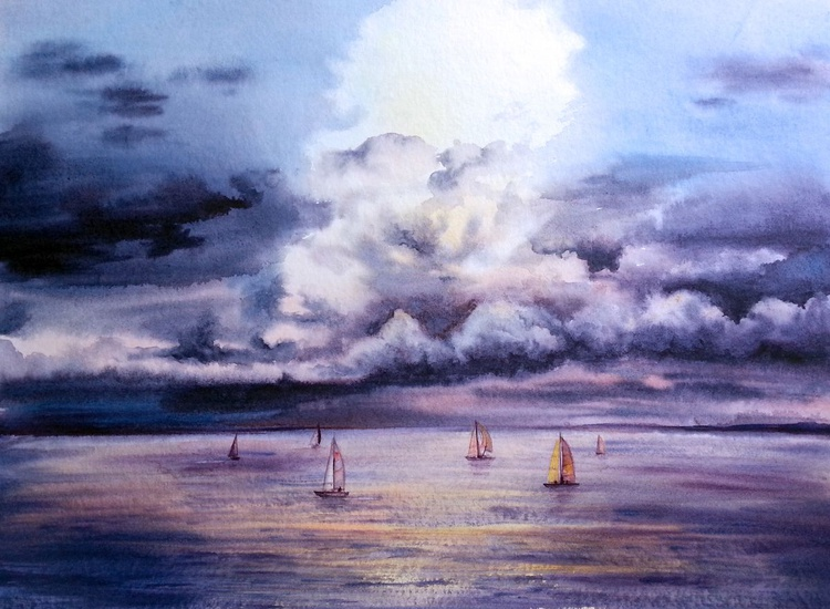 Seascape - Sail boats - Sea Sunset - Storm Clouds - Image 0