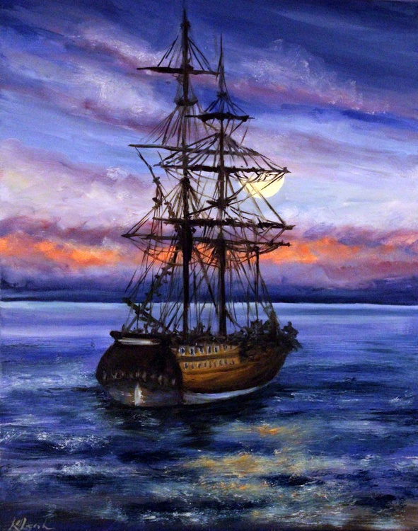 Ship with sea  sunset - Image 0