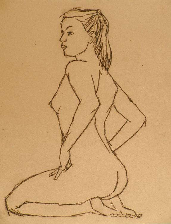 Nude Art Original Figure Drawing Female Nude Charcoal Life Drawing - Image 0