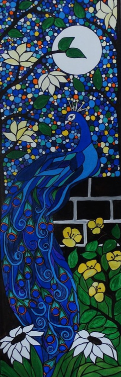 Pretty Peacock 12x36 framed ready to hang and love - Image 0