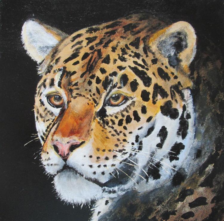 LEOPARD,cat, wild animal, jungle, gift idea, original artwork in acrylic, 8x8inch - Image 0