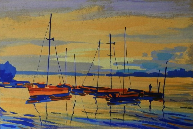 yacht at sunset. Original painting 30x21 cm - Image 0
