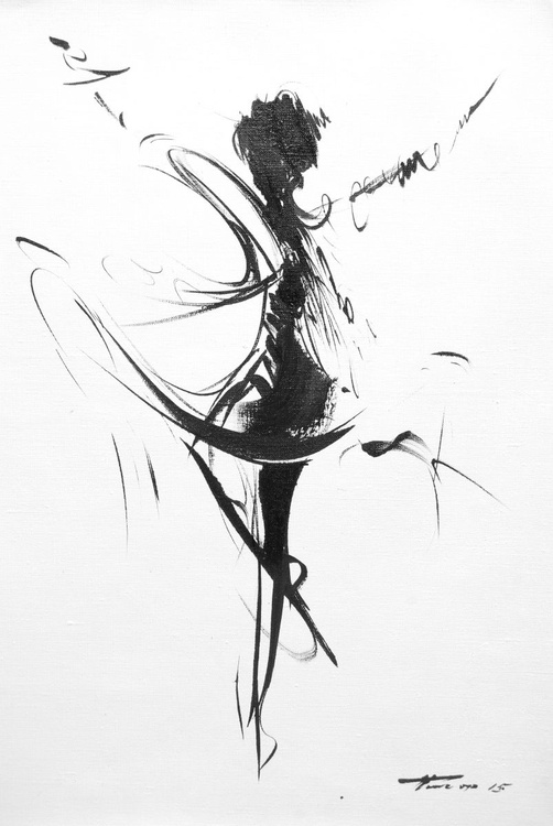 """Black and White Painting  """" Dance of the Wind"""" (136b15) - Image 0"""