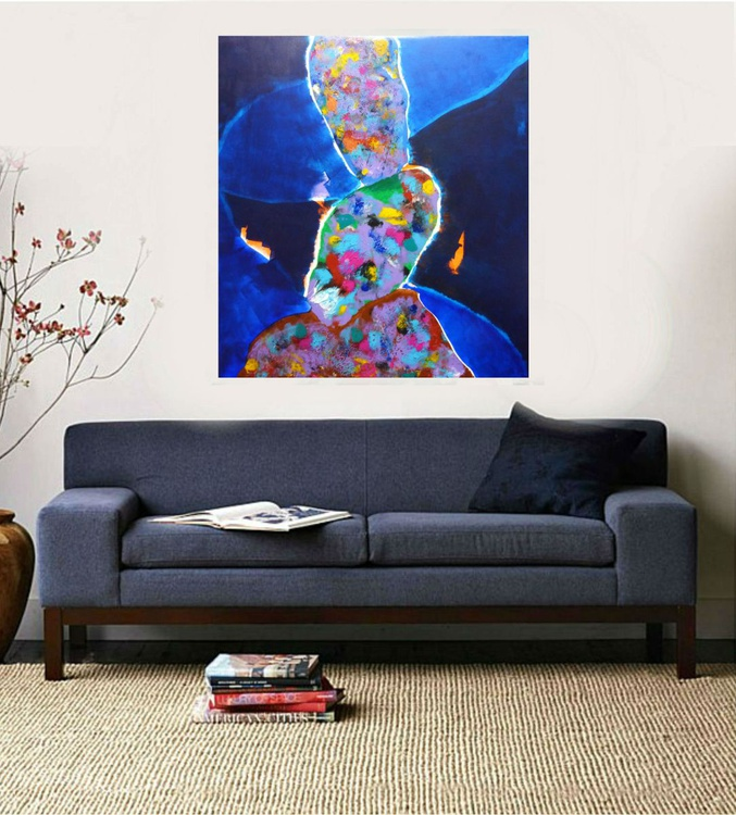 Large abstract painting, No title,  100x90cm - Image 0
