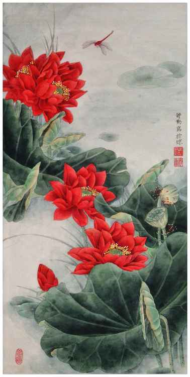 Original Chinese Gongbi Painting - Red Lotus Flower in the Sunshine