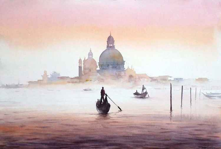 Winter Morning Venice - Watercolor Painting -