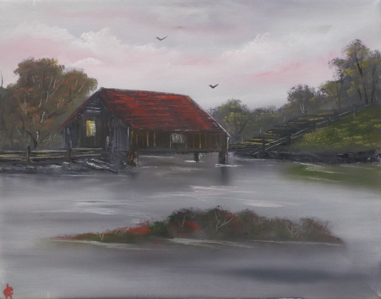 Covered Bridge on a Cloudy Day. - Image 0