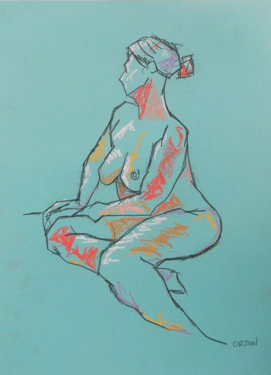 Female Nude Original Charcoal Pastel Figure Study Life Drawing Gesture - Image 0
