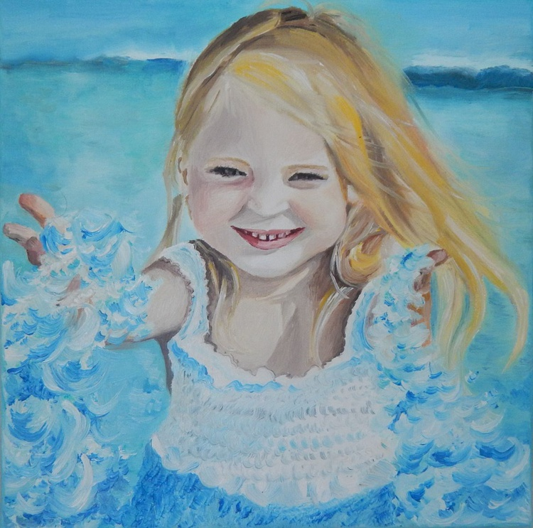 ''Pure love''-oil on canvas,seascape with  a charming child - Image 0