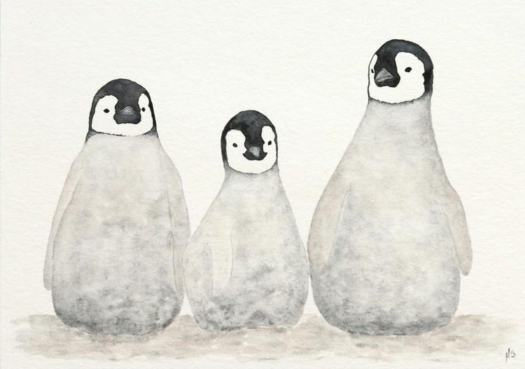 Three emperor penguin chicks II - Image 0