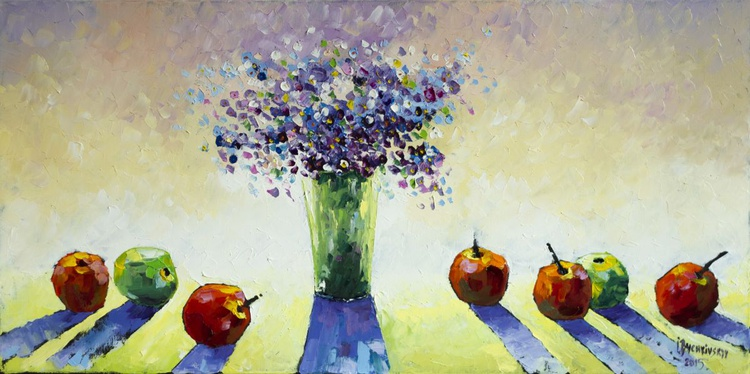 Apples and blue flowers - Image 0
