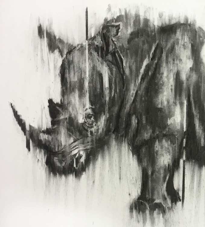 'Here Today', Rhino in Africa, Large format framed charcoal drawing/painting - Image 0