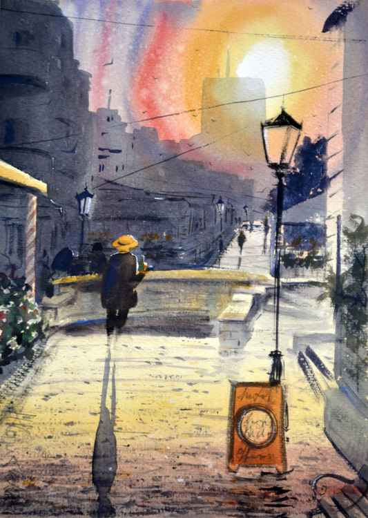 Sundown in Skadarlija - original watercolor art -