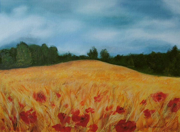 Wheatfield with poppies 1 - Image 0