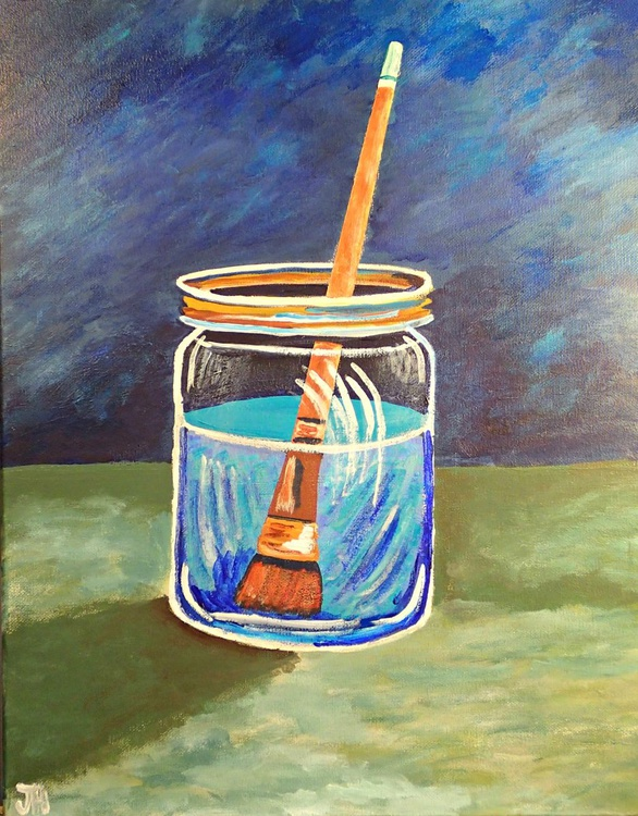 Paint Brush in Mason Jar - Image 0