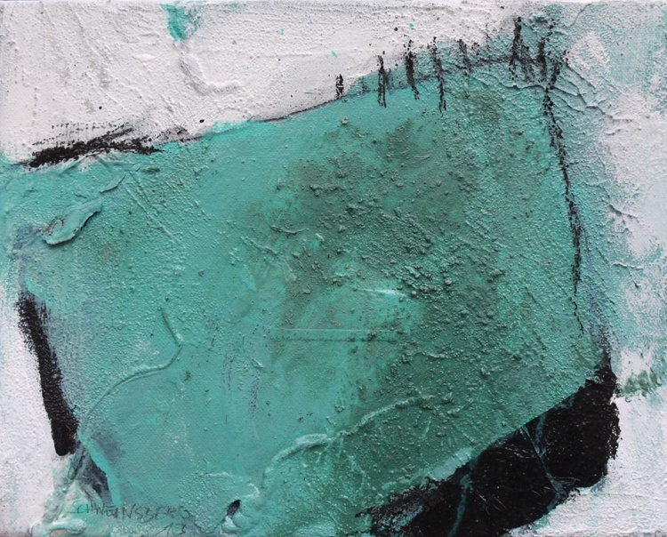 Back to Vernagt | abstract | turquoise white black | Vernagt barrier lake | Work No. 2013.16 - Image 0
