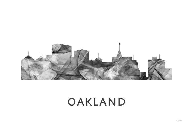 Oakland California Skyline WB BW -
