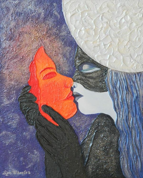 Obsession - Original, modern surreal sun and moon romance impasto painting - Image 0