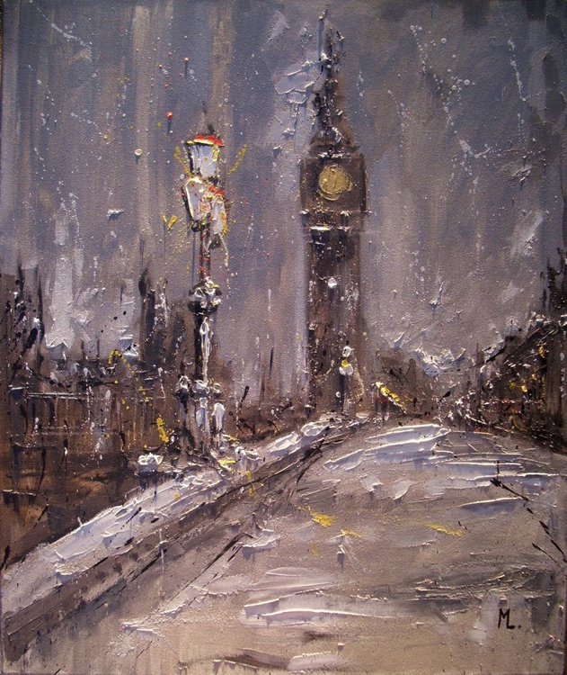 """"""" ONE NIGHT IN LONDON ... """" original oil painting PALETTE KNIFE - Image 0"""