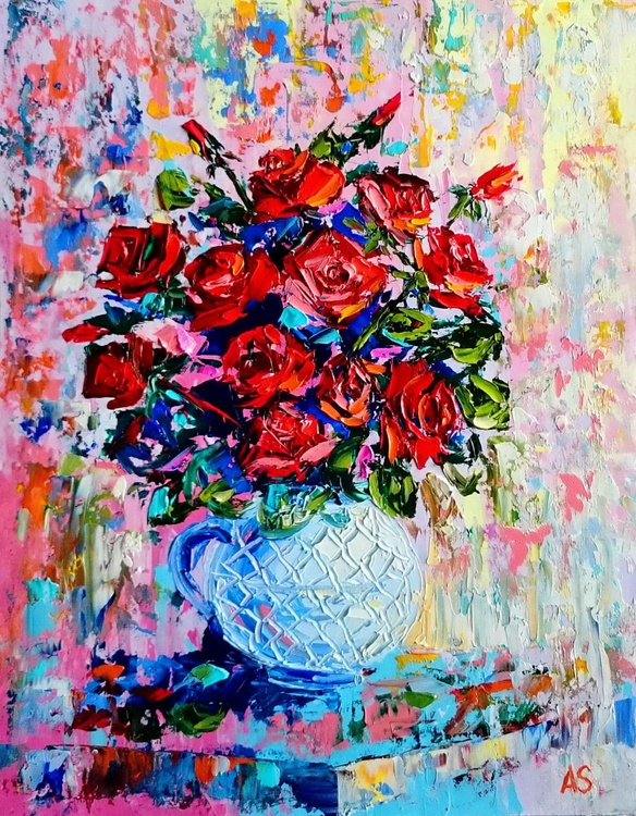 Bouquet of roses in a vase - Image 0