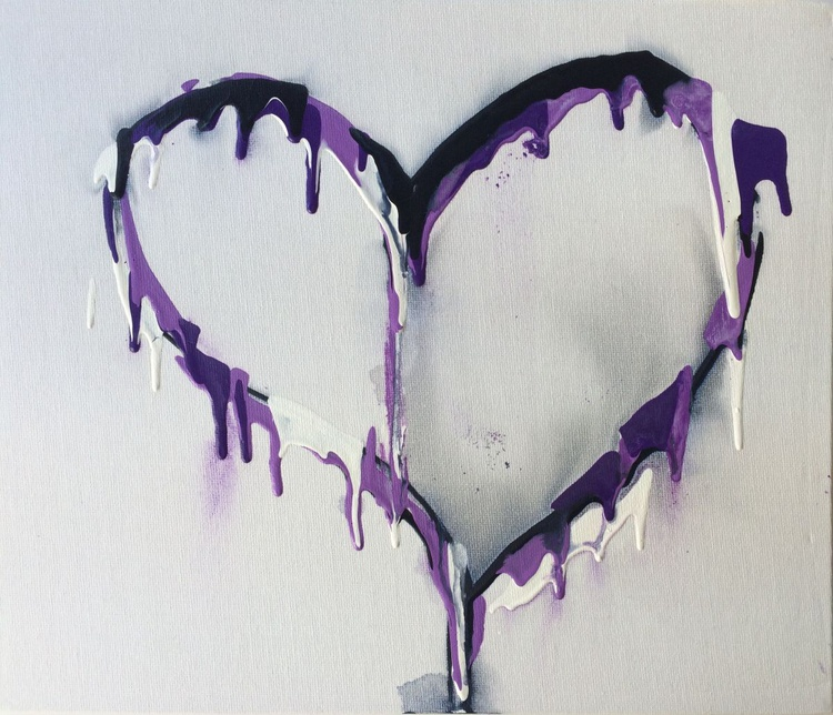 Purple and black oil heart study - Image 0