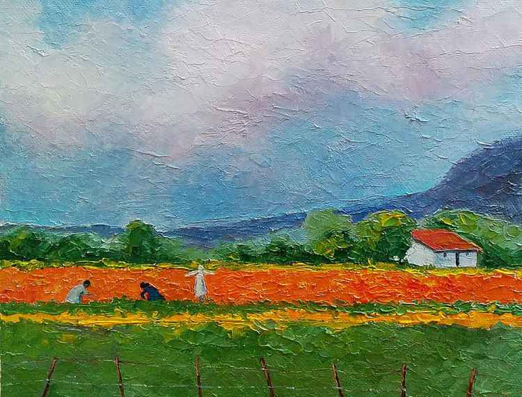 "Landscape country side, ""Working with Marigolds"""