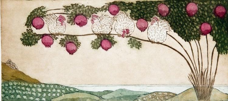 Pomegranate tree, aquatint etching - Image 0