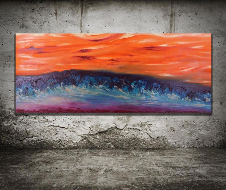 Restless calm - 110x45 cm, Original abstract painting, oil on canvas, - Image 0