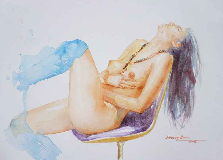 original art watercolour painting  naked  girl  on paper #16-4-27-01 -