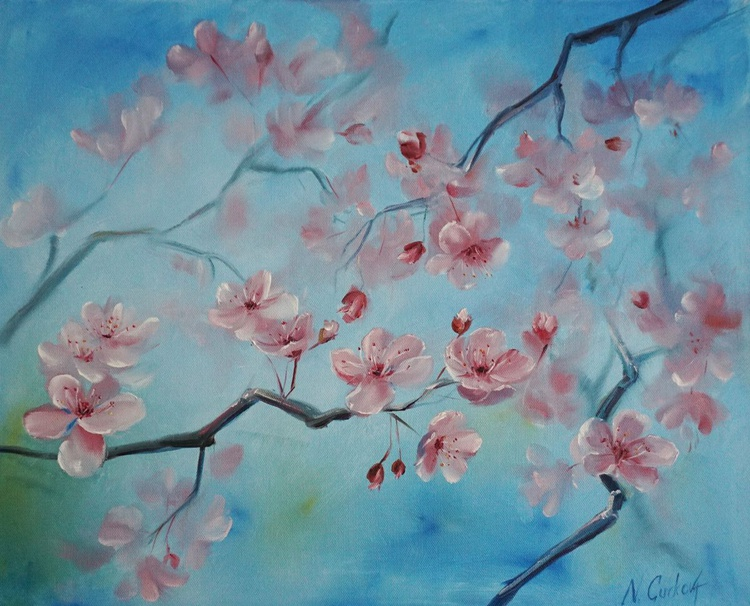 "Spring flower painting ""Cherry blossoms"" - Image 0"