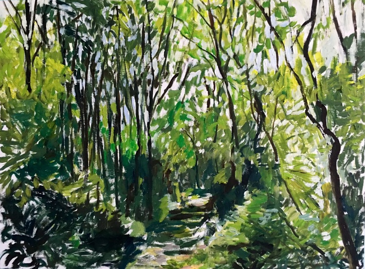 Forest Path, Large impressionist landscape painting, original oil on board - Image 0