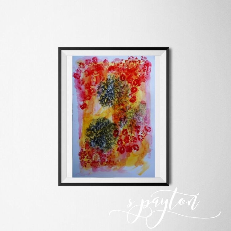 Abstract Floral Giclee Print in Red and Yellow 2016 A2 Size - Image 0
