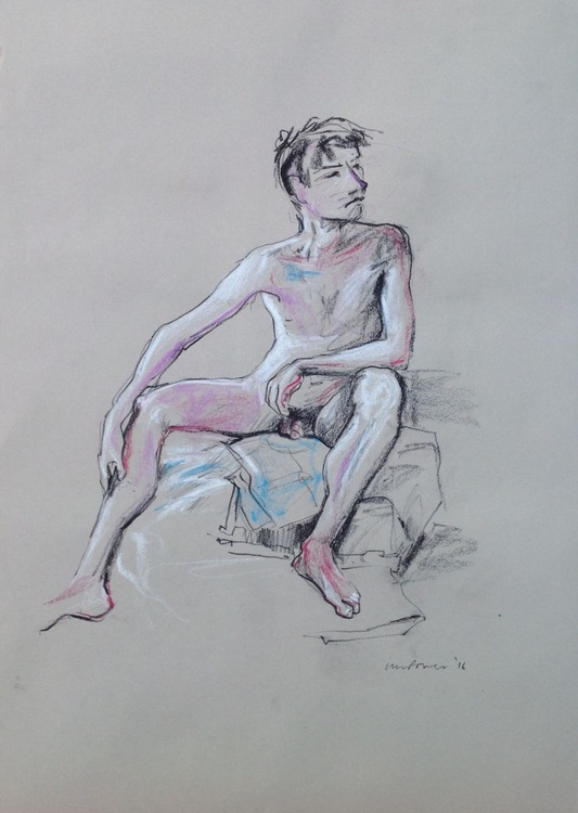 seated male nude, A2 soft pastel life drawing #12 - Image 0