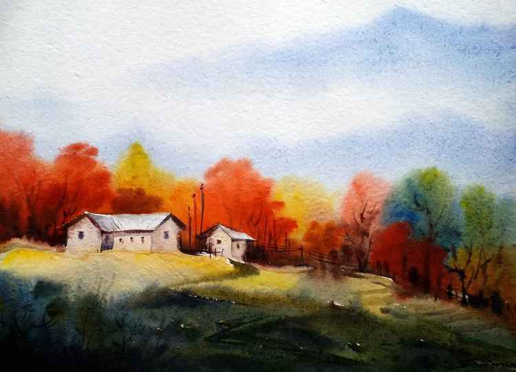 Beauty of Autumn Mountain Village - Watercolor Painting -