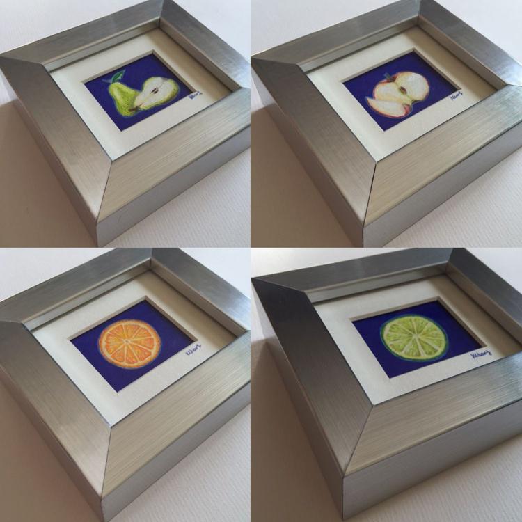 Teeny Tiny Fruit, 4 Framed miniatures. - Image 0