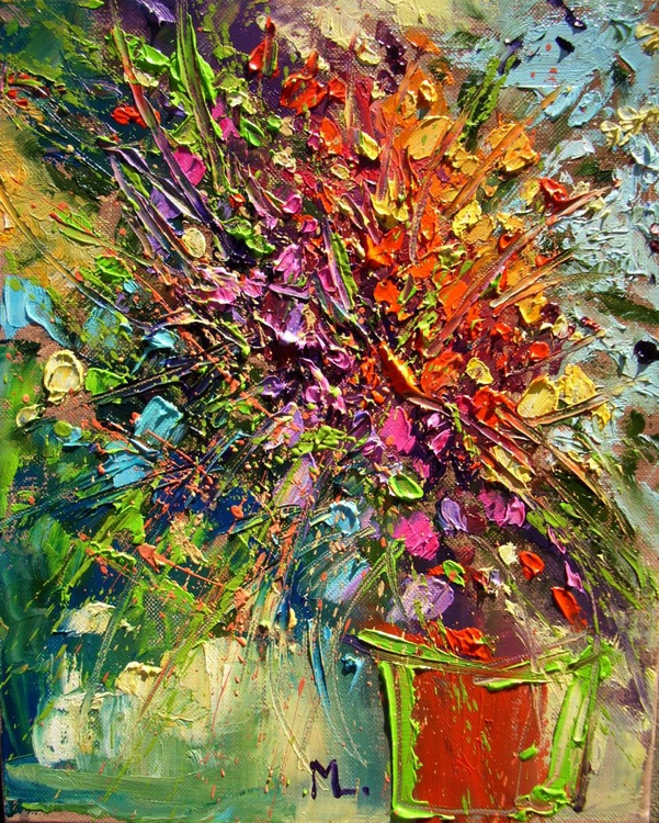 """FOR ALL :) """" SPRING FLOWERS """"  ABSTRACT original OIL painting St. Patrick's Day CITY palette knife GIFT MODERN URBAN ART OFFICE ART DECOR HOME DECOR GIFT IDEA - Image 0"""