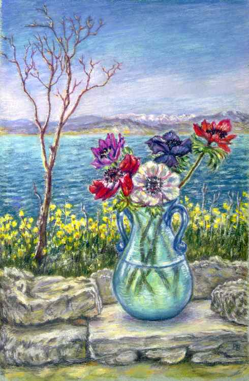 Vase of Anemones with View of Nafplio Peloponnese -