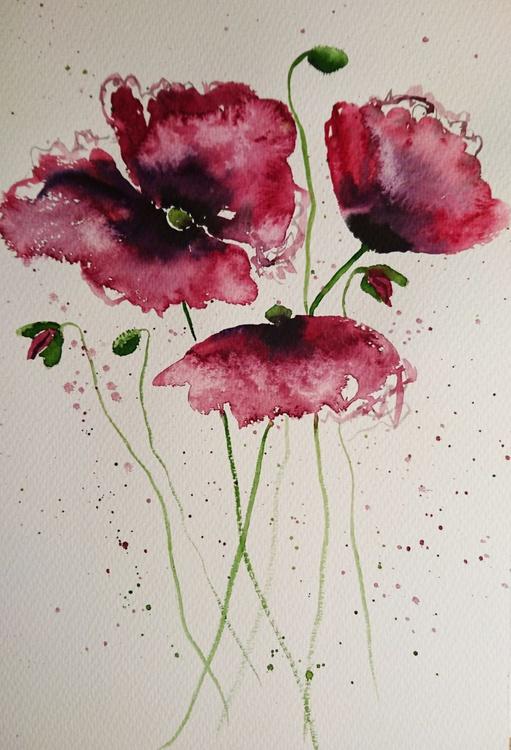 "Poppy flowers five 16"" x 12"" - Image 0"