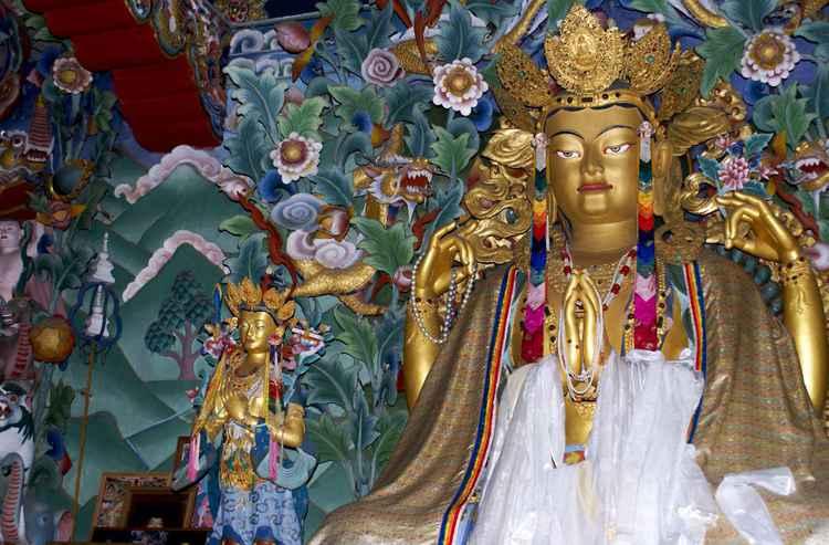 Chenrezig statue, Bhutanese temple at Bodhgaya, India