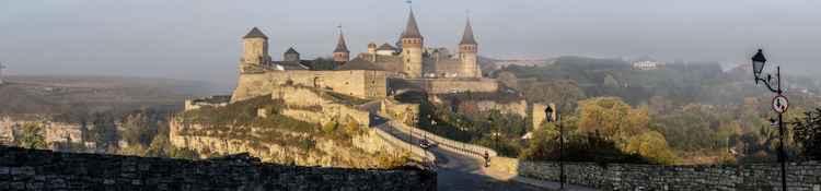 Fairytale Medieval Castle Panorama at Sunrise