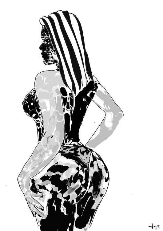 Fille de dos en noir et blanc