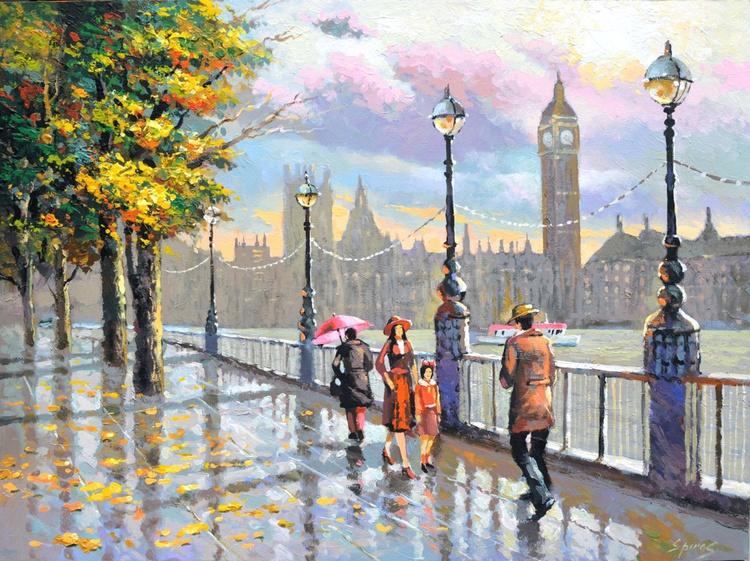 London rainy by Dmitry Spiros. Size 70 x 90 cm (28x 36 in) - Image 0
